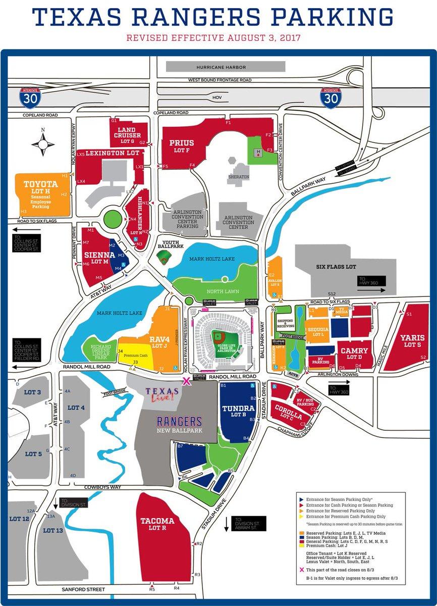 "Texas Rangers On Twitter: ""parking Update: Effective 8/3, Portions - Texas Rangers Stadium Parking Map"