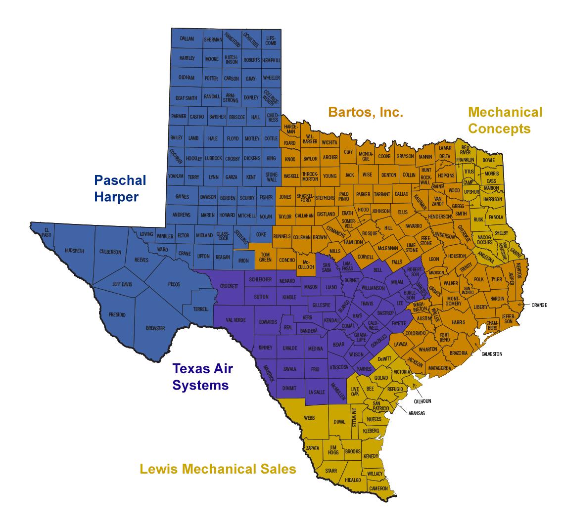 Texas Representatives: Vibration Isolation, Seismic And Wind - Texas Representatives Map
