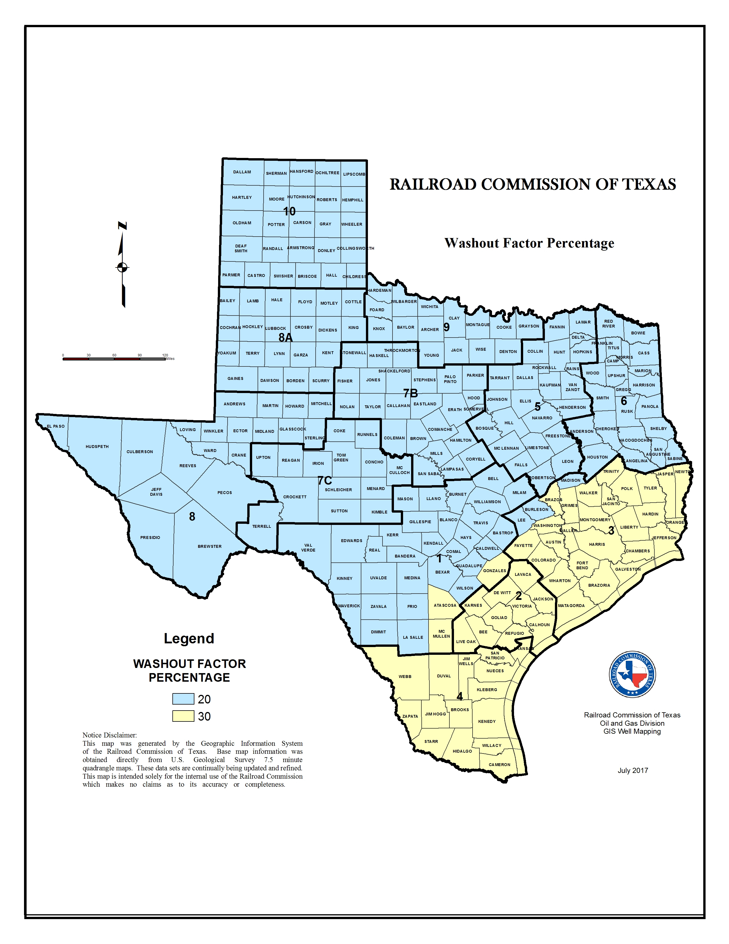 Texas Rrc - Washout Factors And Top Of Cement - Texas Railroad Commission Drilling Permits Map