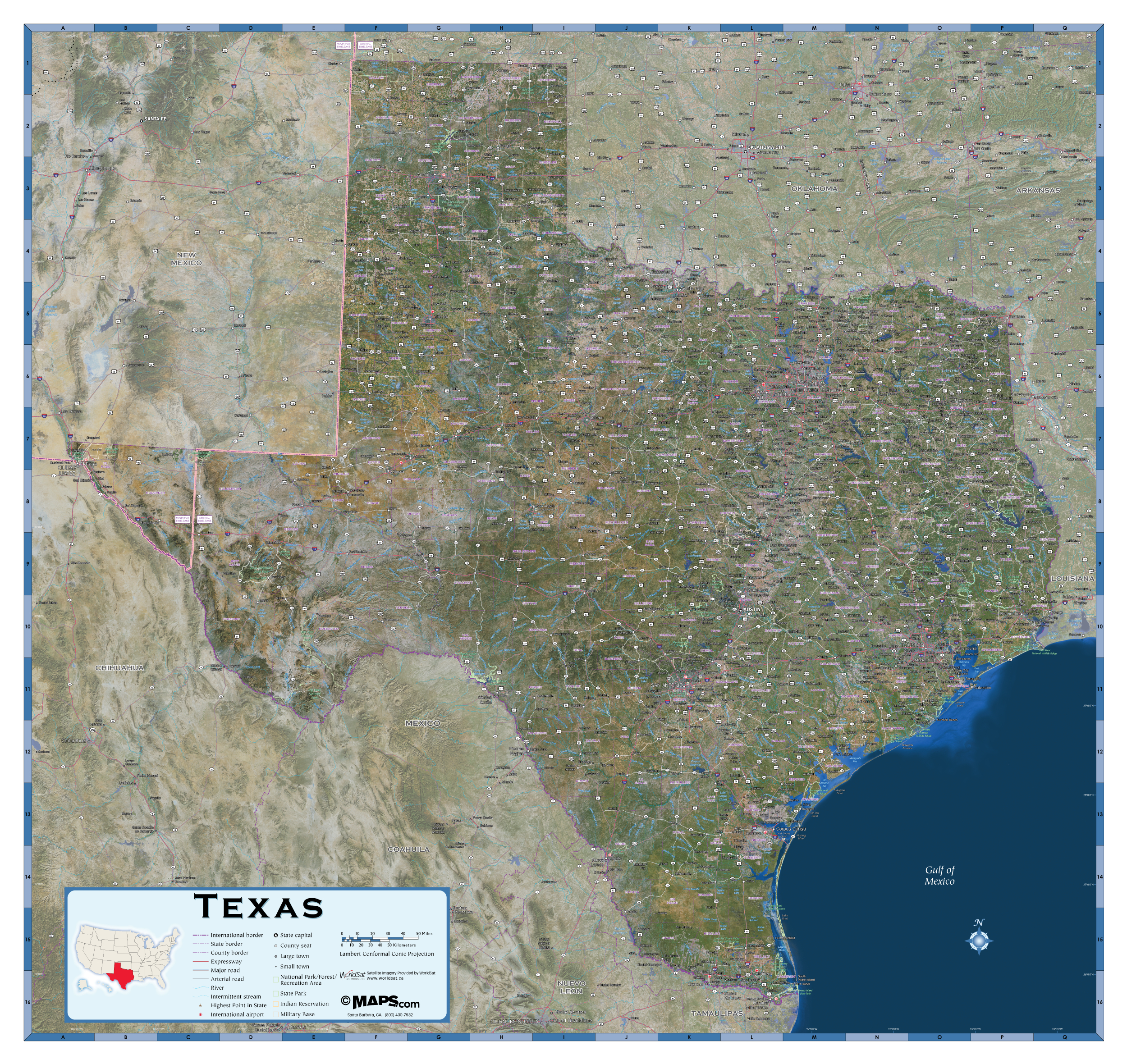 Texas Satellite Wall Map - Maps - Satellite Map Of Texas