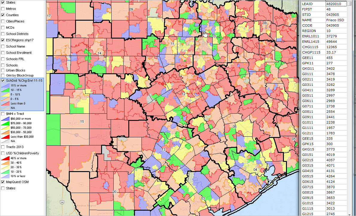 Texas School Districts 2010 2015 Largest Fast Growth - Texas Gis Map