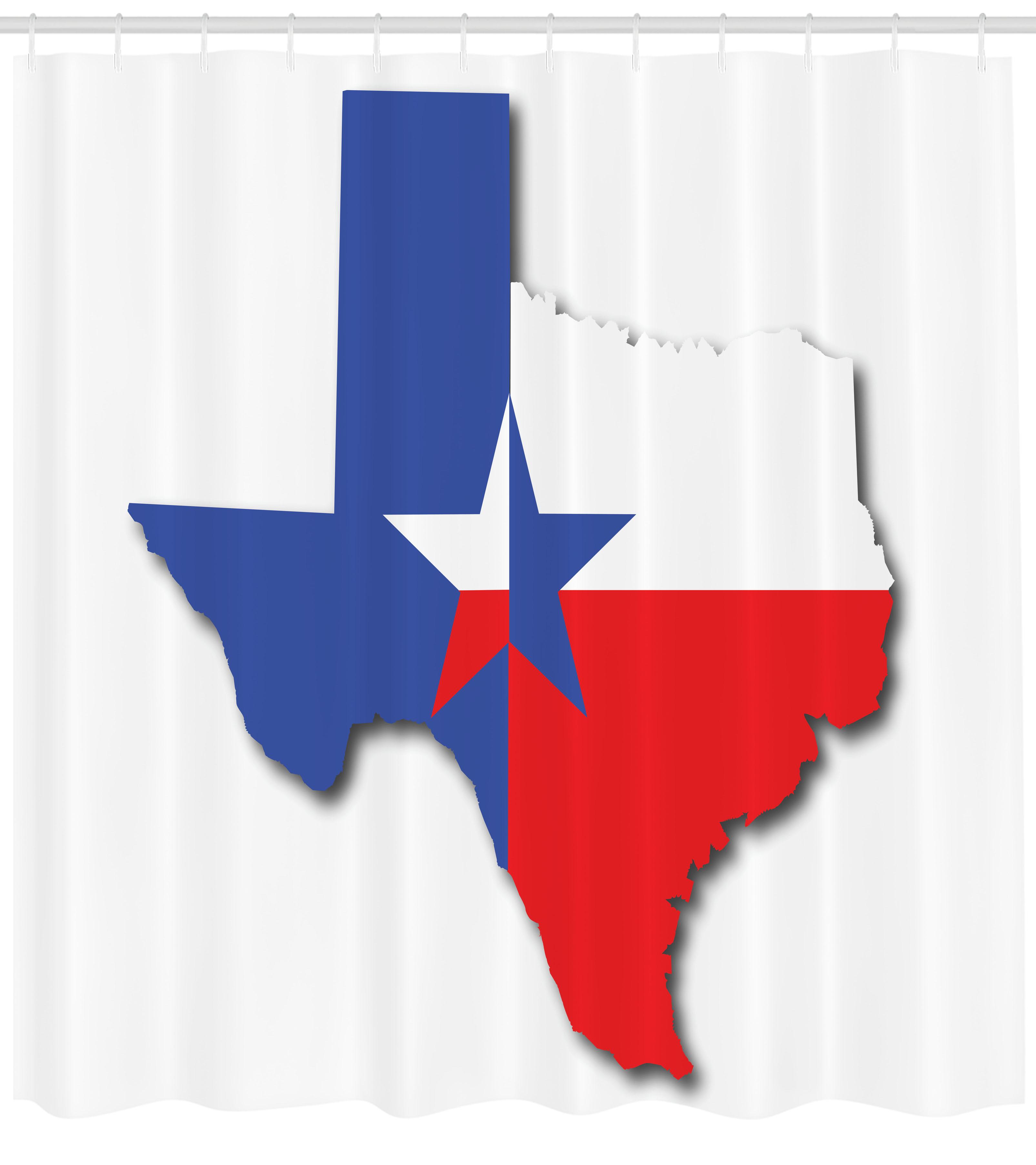 Texas Star Shower Curtain, Outline Of The Texas Map American - Texas Map Shower Curtain