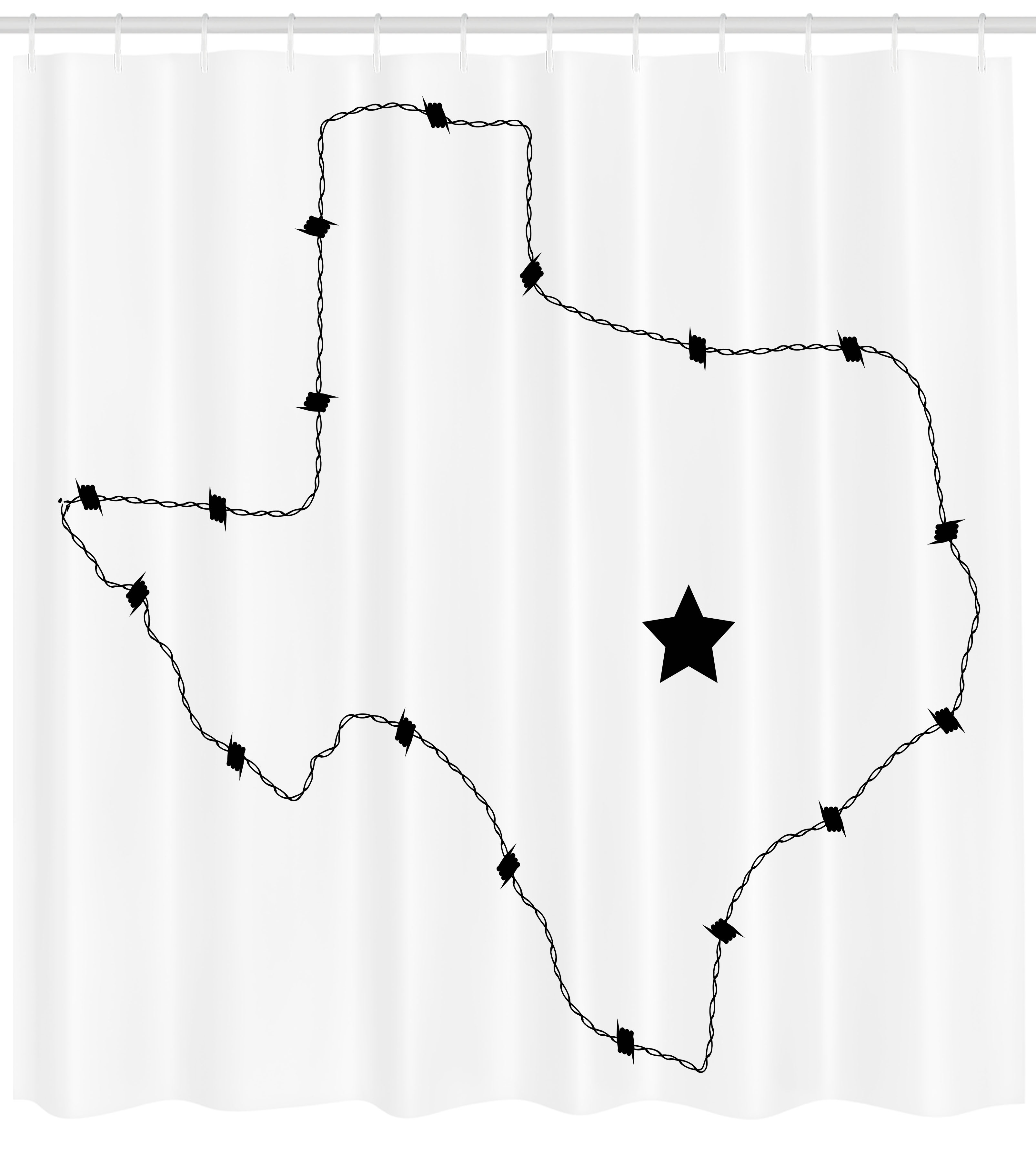 Texas Star Shower Curtain, Usa State Map With Barbed Wire Pattern - Texas Map Shower Curtain