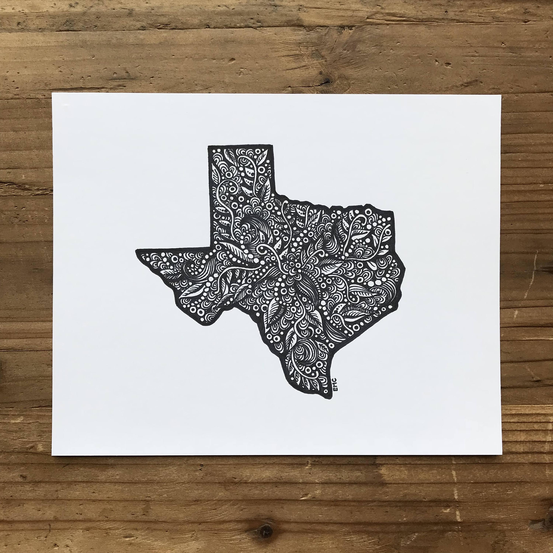 Texas State Drawing Texas Map Art Texas Wall Art Texas | Etsy - Texas Map Art