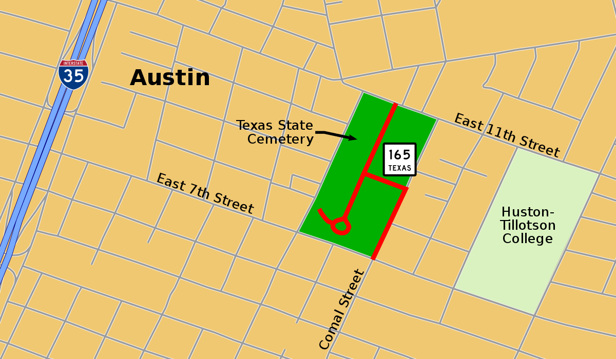 Texas State Highway 165 - Wikipedia - Texas State Cemetery Map