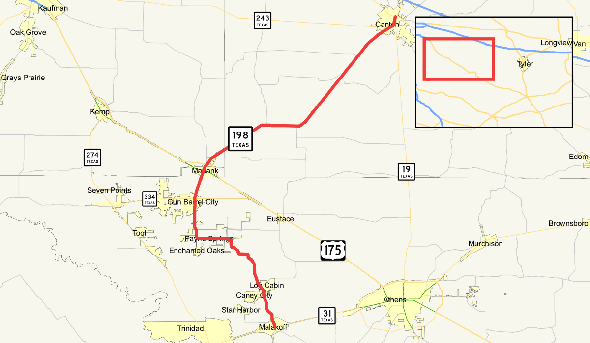 Texas State Highway 198 - Wikipedia - Mabank Texas Map