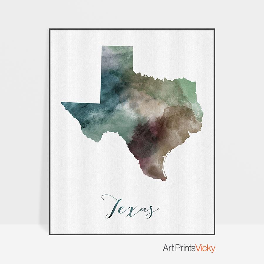 Texas State Map Print | Art Prints Vicky - Texas Map Print