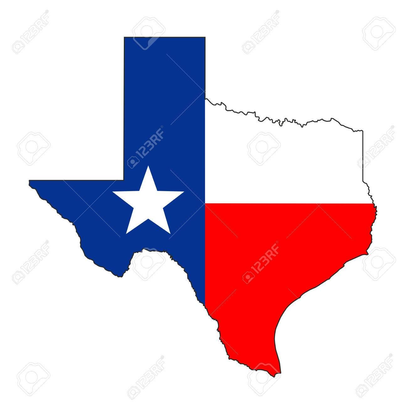 Texas State Usa National Flag Map Shape Illustration Stock Photo - Texas Flag Map