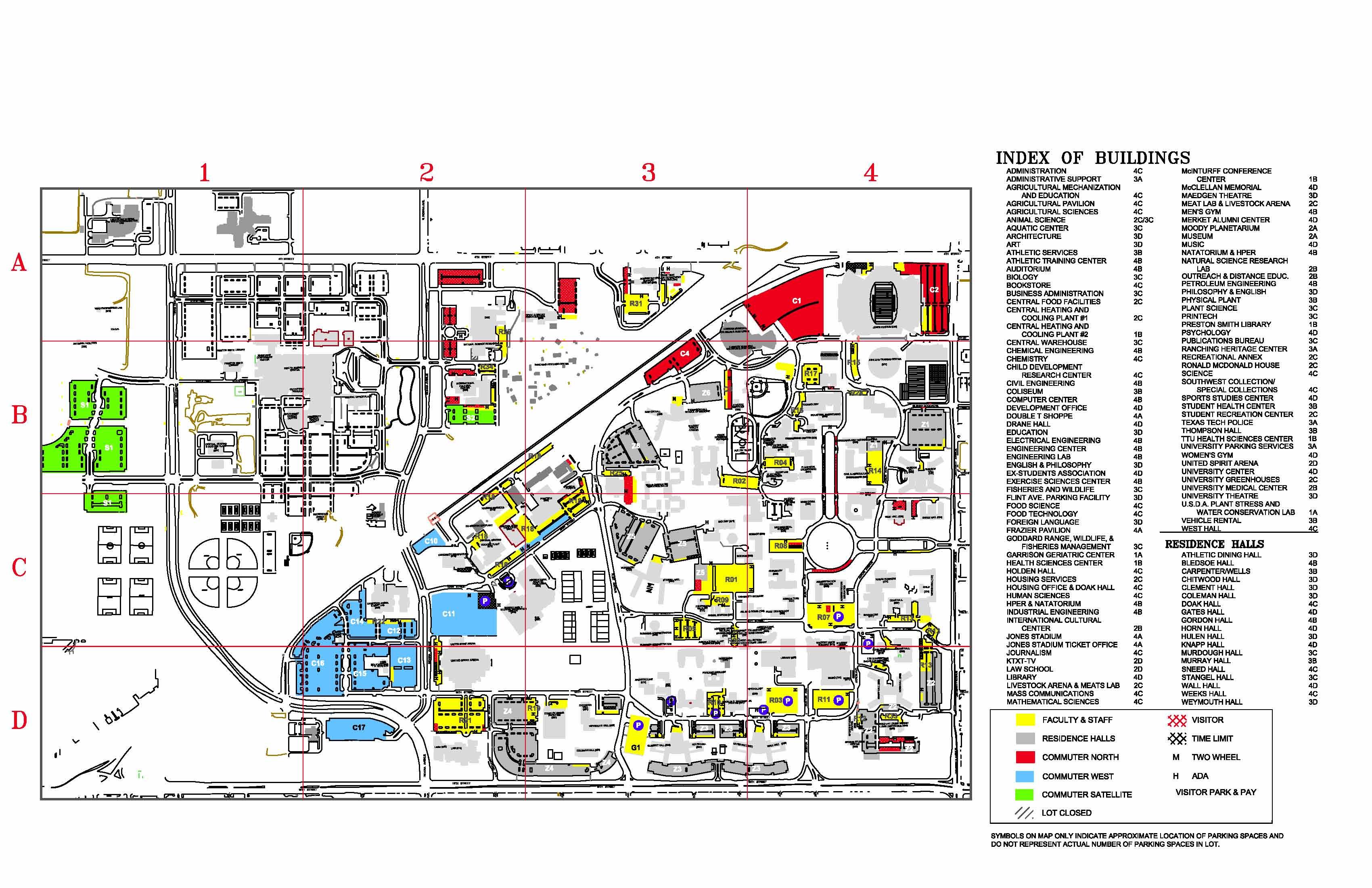 Texas Tech University Parking- Visitor Map - Lubbock Texas Usa • Mappery - Texas Tech Dorm Map