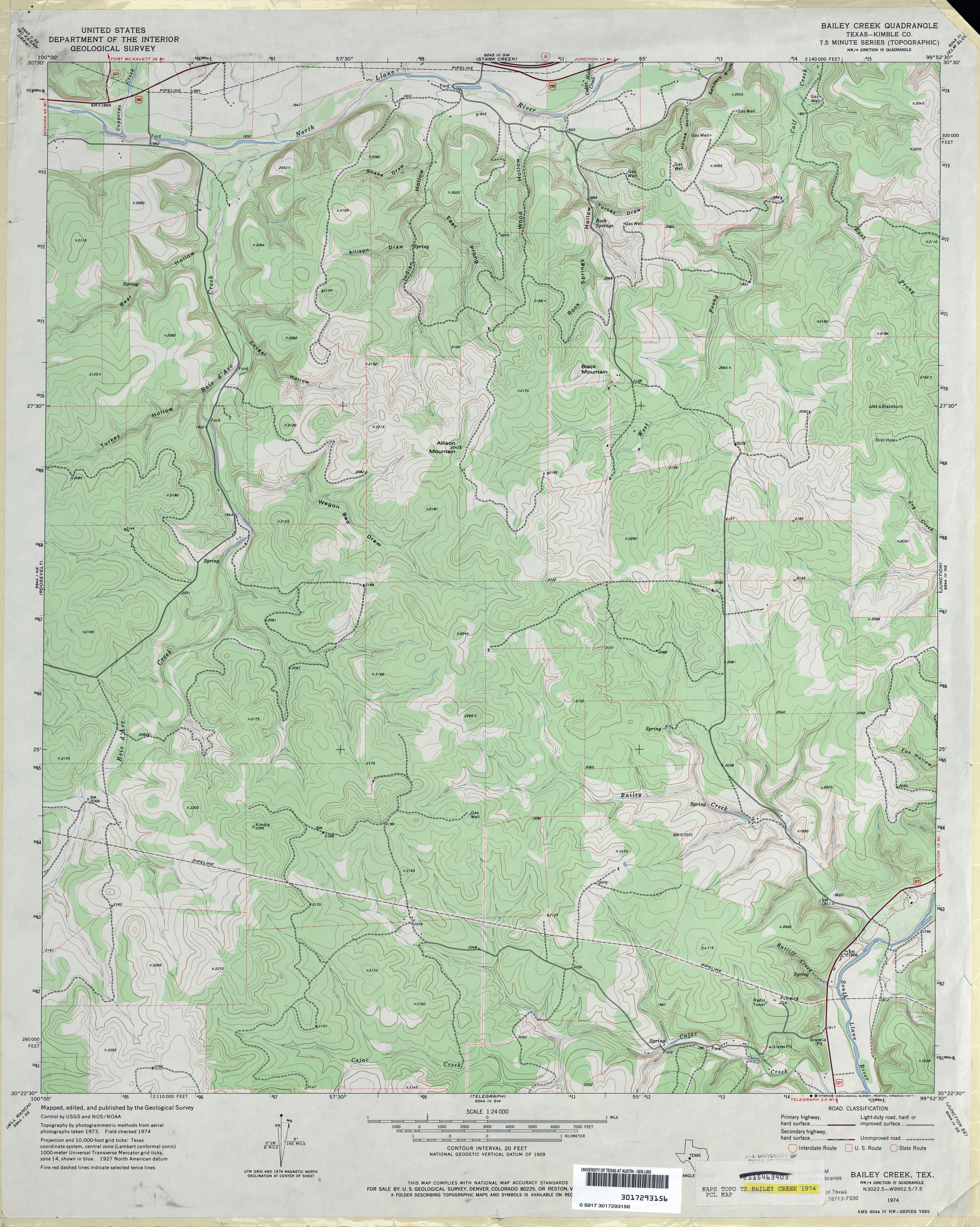 Texas Topographic Maps - Perry-Castañeda Map Collection - Ut Library - Junction Texas Map