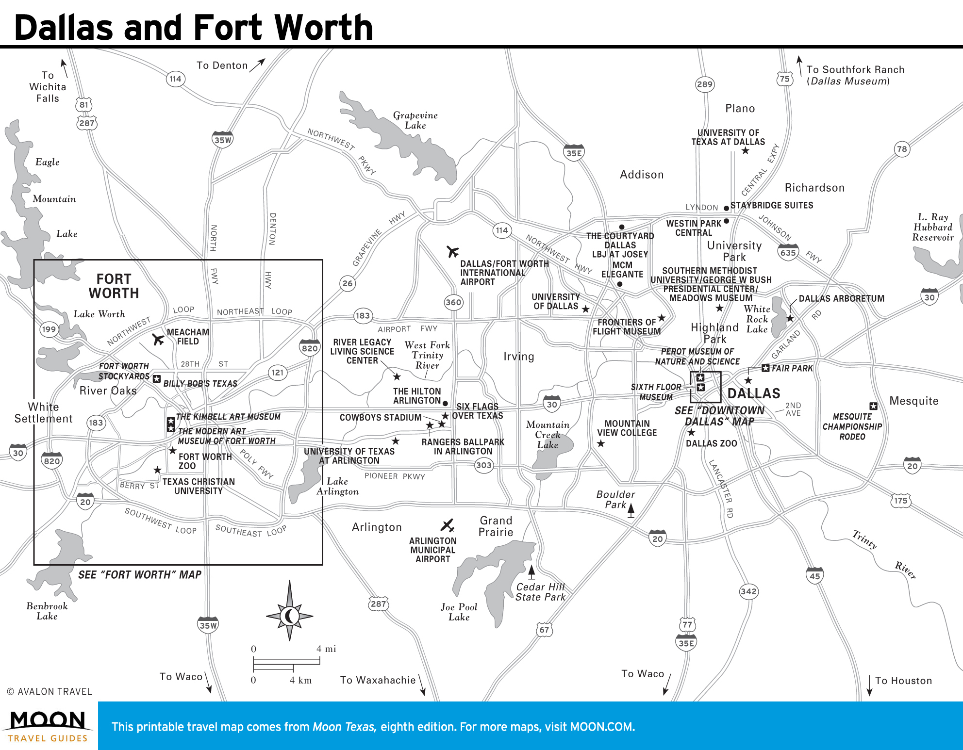 Texas Travel Maps - Printable Map Of Fort Worth Texas