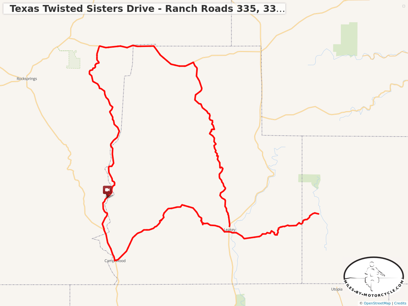 Texas Twisted Sisters Drive - Ranch Roads 335, 337, 336 - Utopia Texas Map