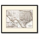 Texas Vintage Sepia Map Canvas Print, Picture Frame Gifts Home Decor   Texas Map Canvas