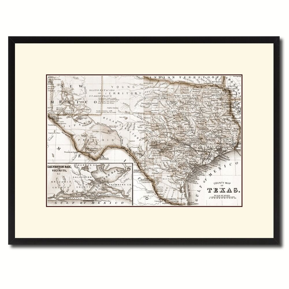 Texas Vintage Sepia Map Canvas Print, Picture Frame Gifts Home Decor - Texas Map Canvas
