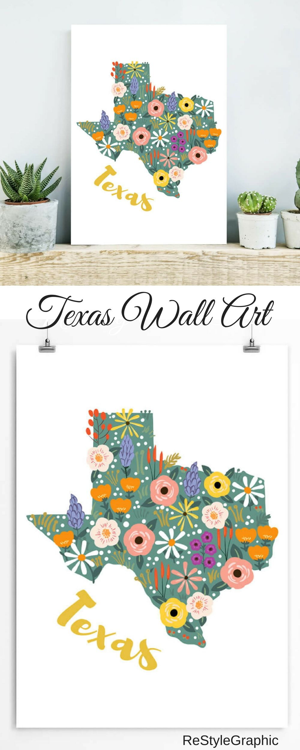 Texas Wall Art - Texas Map Artwork