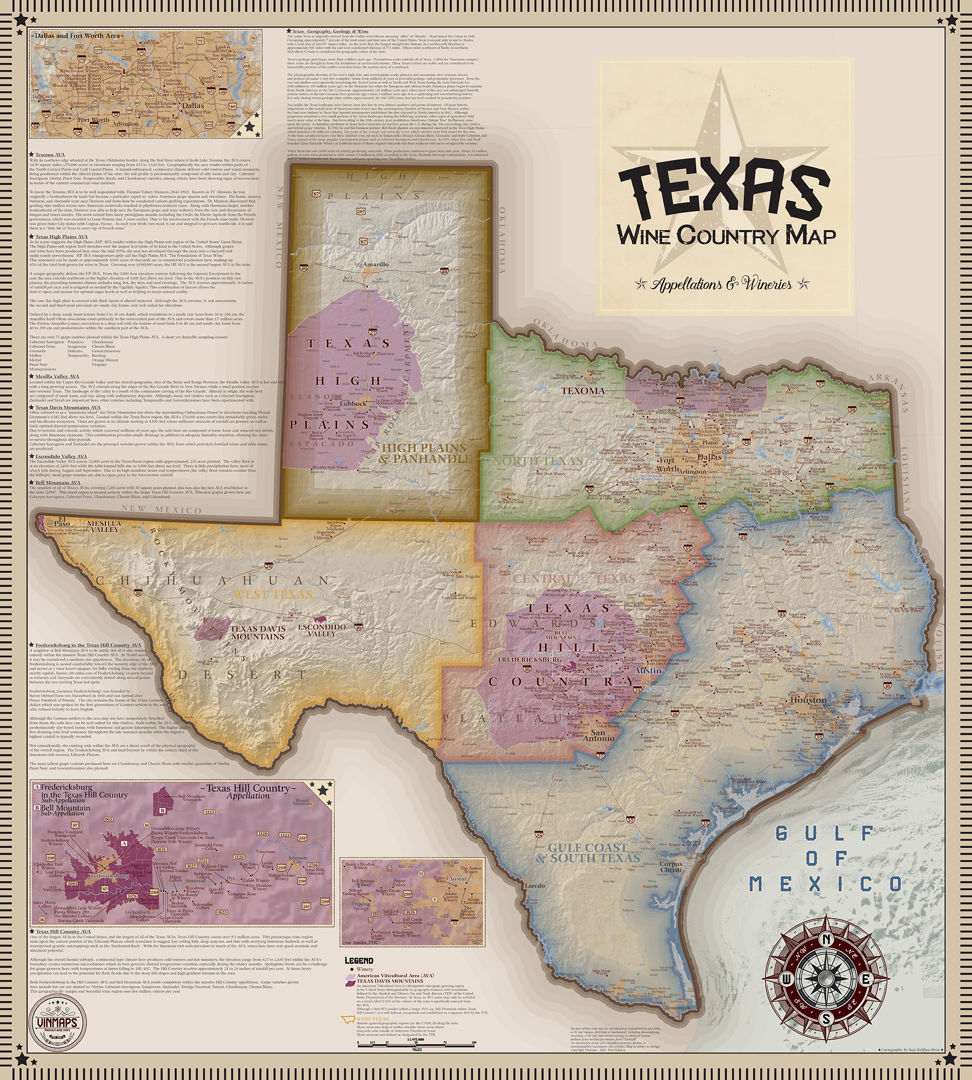 Texas Wine Country Map, Appellations & Wineries - Vinmaps® - Fredericksburg Texas Winery Map