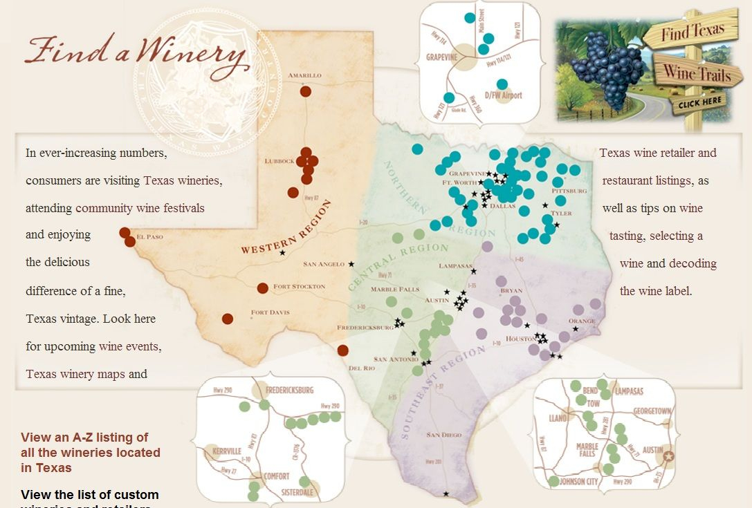 Texas Wine Regions Map | Wine Regions - Florida Winery Map