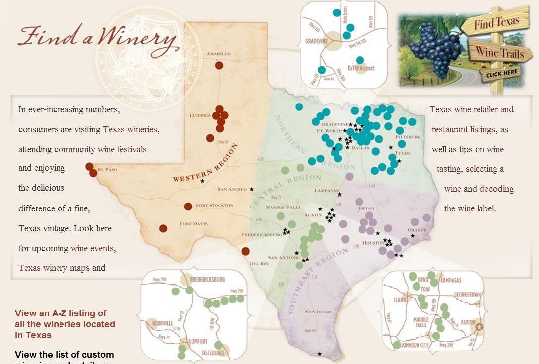 Texas Wine Regions Map | Wine Regions - Texas Winery Map
