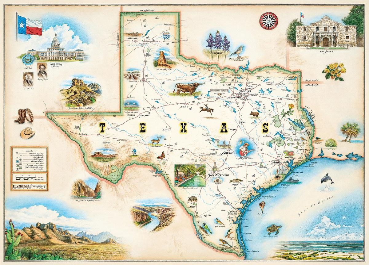 Texas (Xplorer Maps) Jigsaw Puzzle | Puzzlewarehouse - Texas Map Puzzle