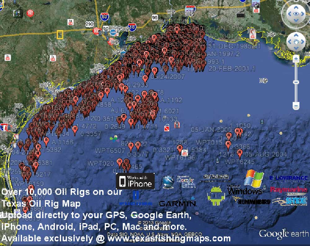 Texas_Oil_Rig_Google_Earth_Map - Texas Fishing Maps And Fishing Spots - Texas Oil Rig Fishing Map