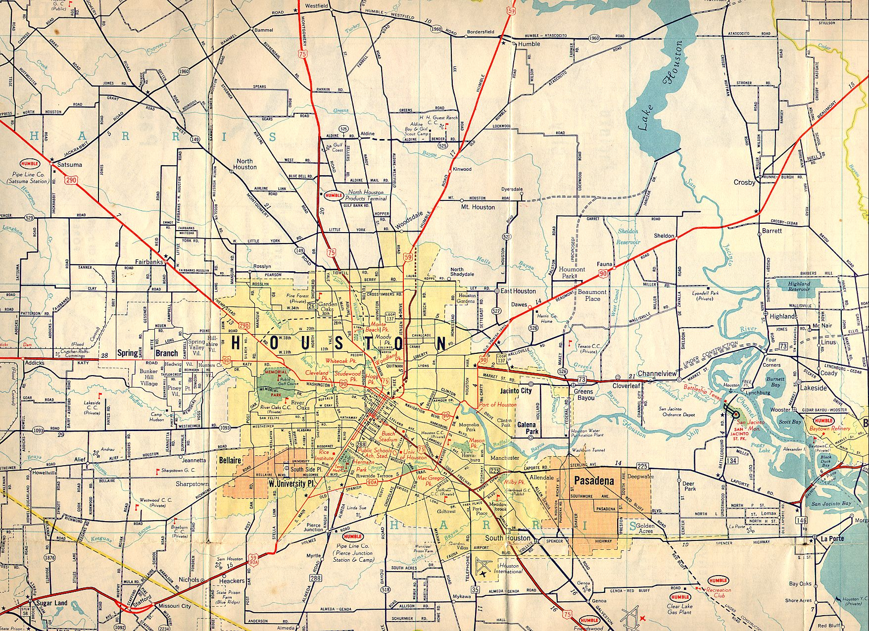 Texasfreeway > Houston > Historical Information > Old Road Maps - Map To Houston Texas