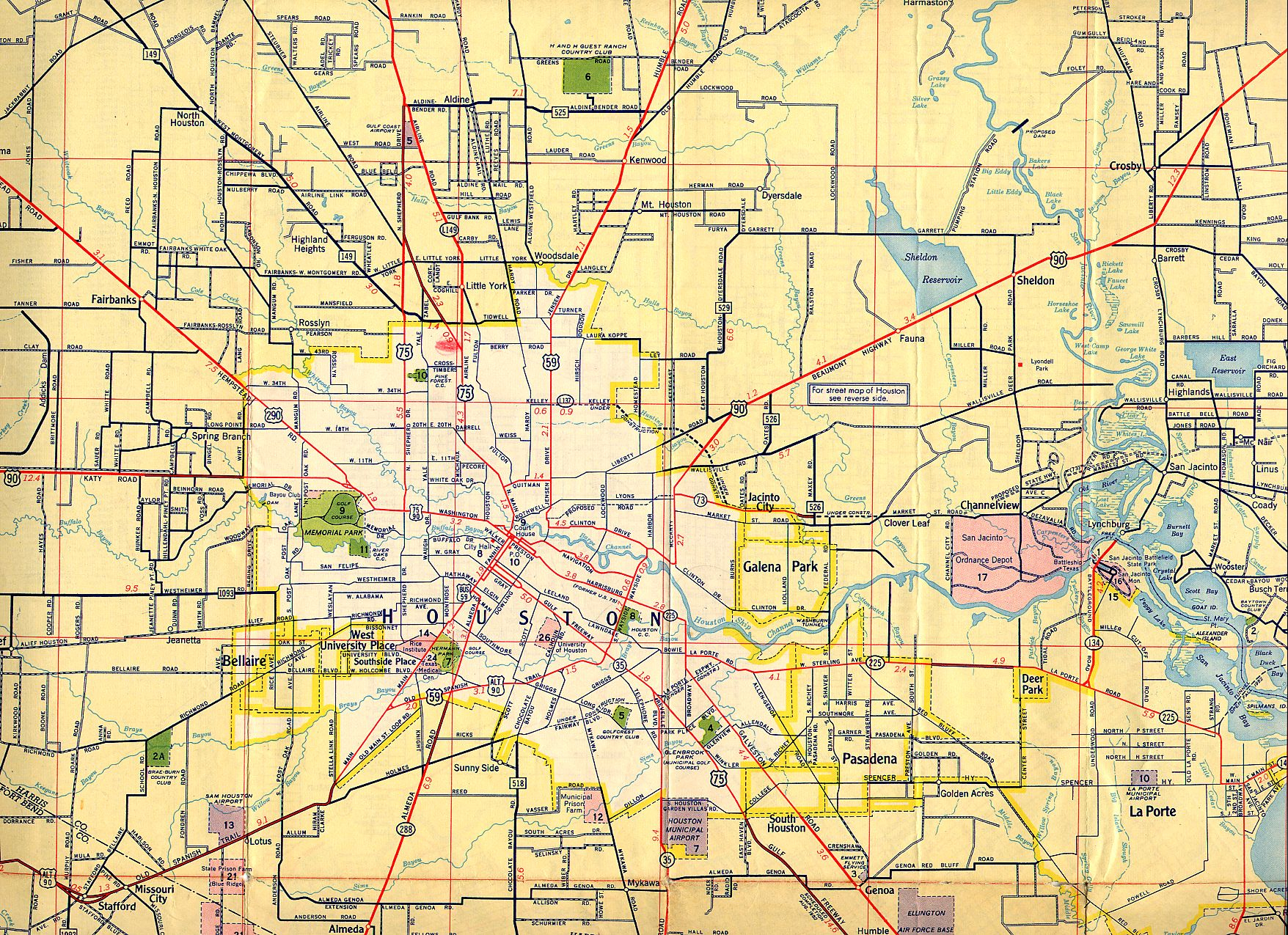 Texasfreeway > Houston > Historical Information > Old Road Maps - Show Map Of Houston Texas