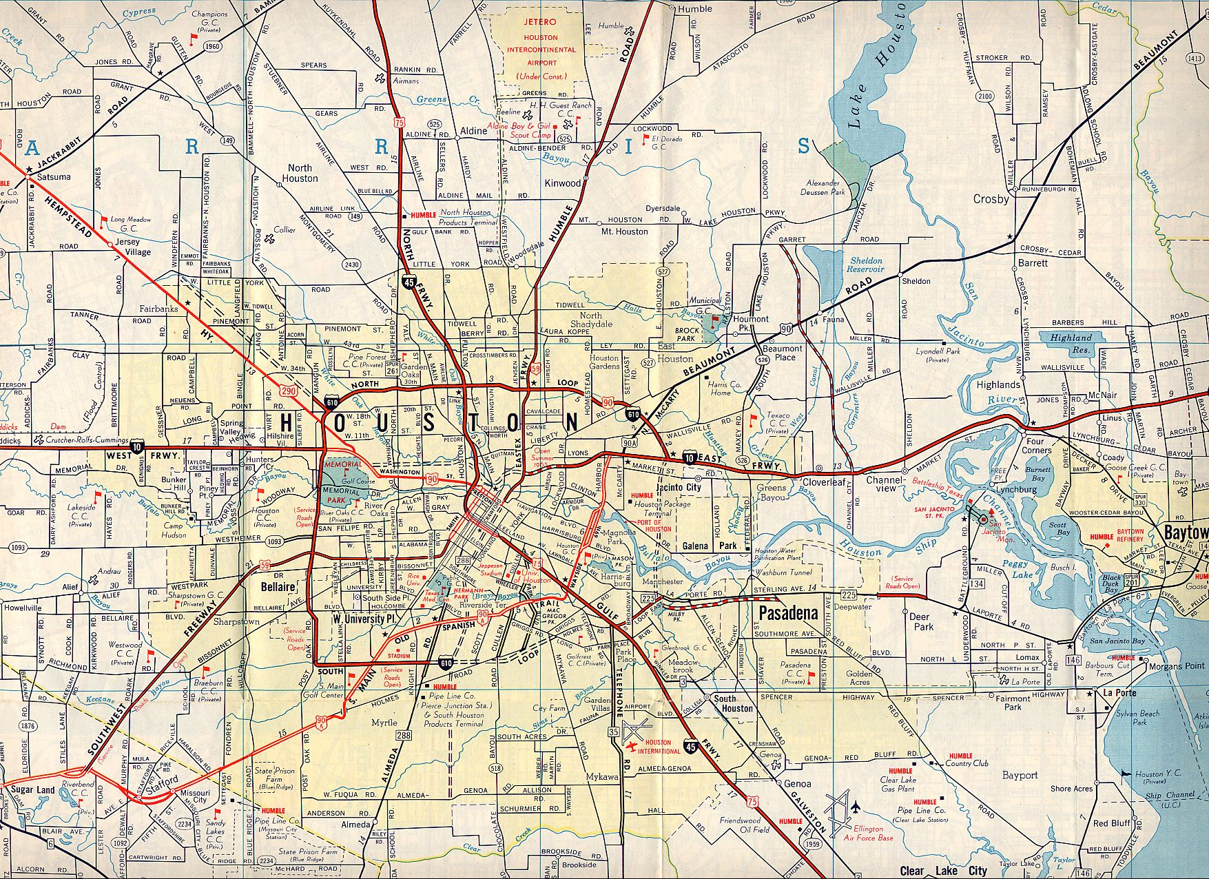 Texasfreeway > Houston > Historical Information > Old Road Maps - Street Map Of Houston Texas