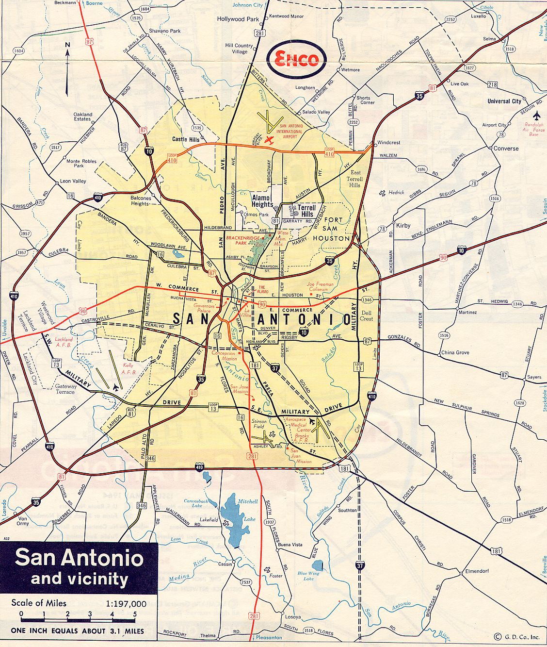 Texasfreeway > San Antonio > Historical Information > Old Road Maps - Detailed Map Of San Antonio Texas