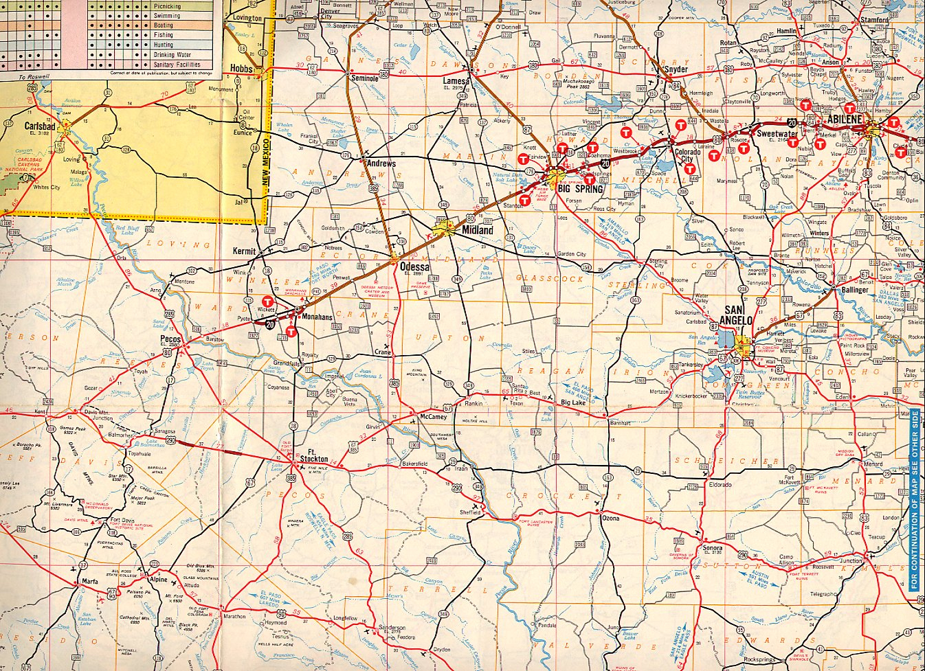 Texasfreeway > Statewide > Historic Information > Old Road Maps - Road Map Of Texas Highways