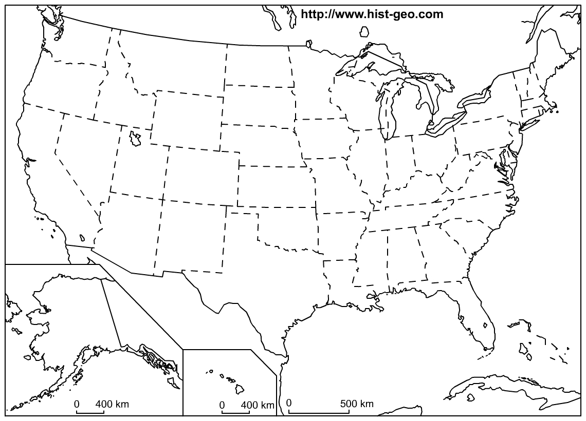 That Blank School Map Displaying The 50 States Of The United States - Map Of United States Without State Names Printable