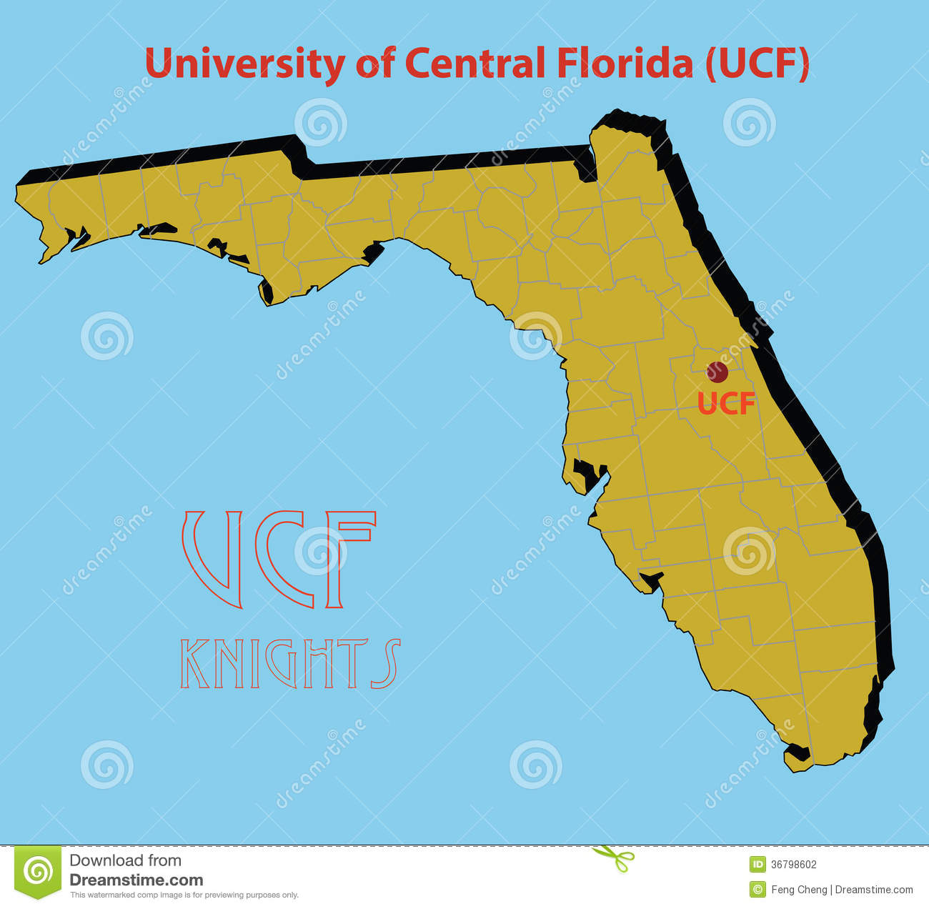 The 3D Map Of The University Of Central Florida ( Stock Vector - Where Is Gainesville Florida On The Map