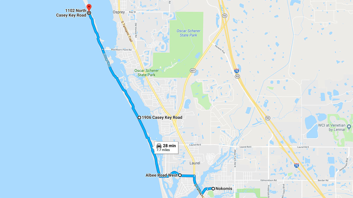The 5 Best Motorcycle Roads In Florida - Casey Key Florida Map