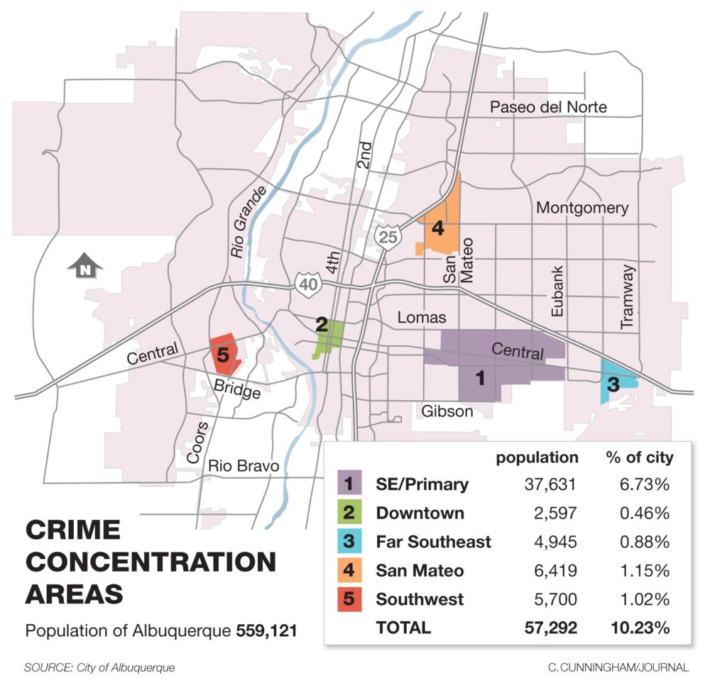 The 5 Most Violent Areas To Live In Albuquerque » Albuquerque Journal - Printable Map Of Albuquerque