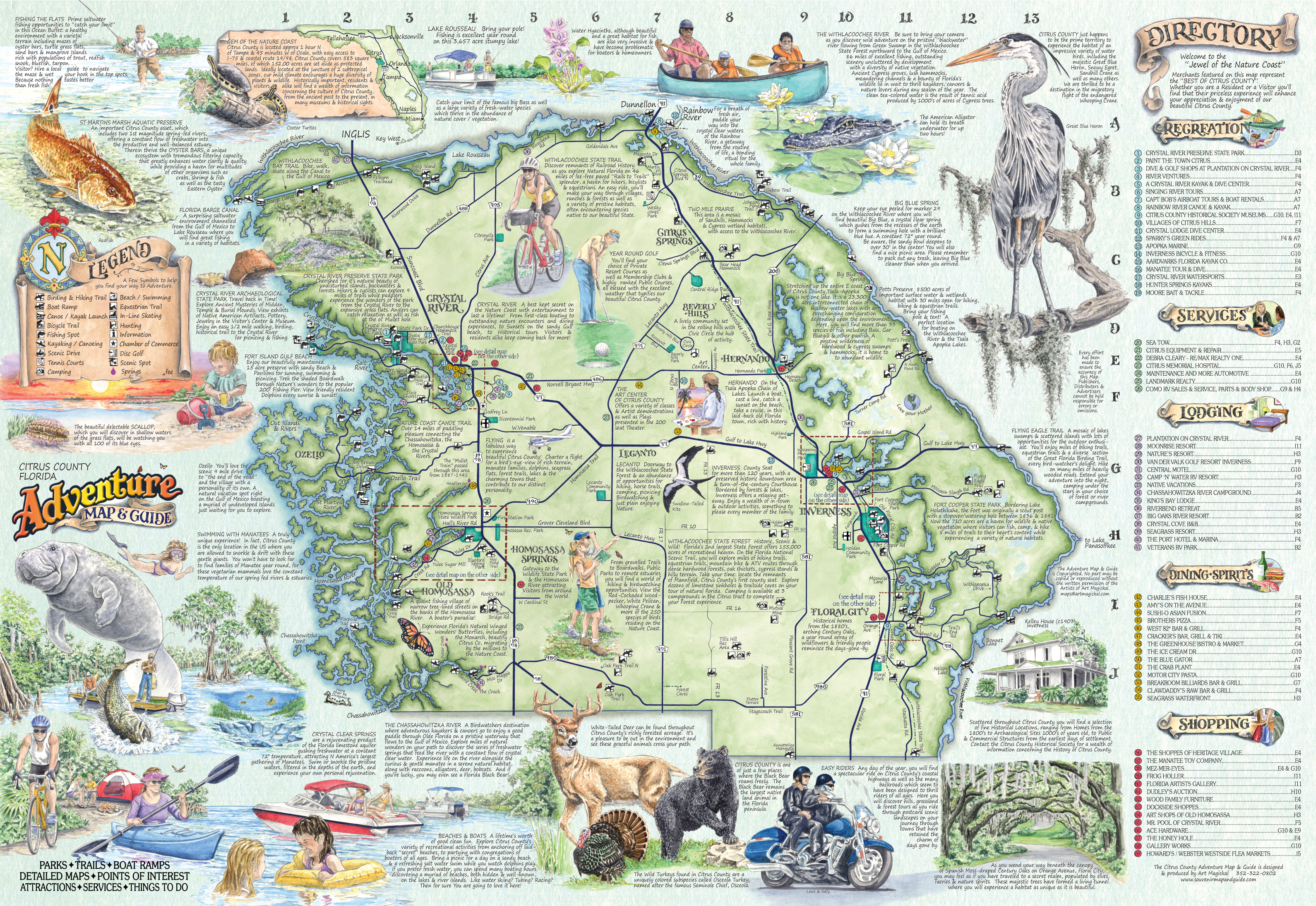The Adventure Map & Guide Of Citrus Co Fl - Lecanto Florida Map