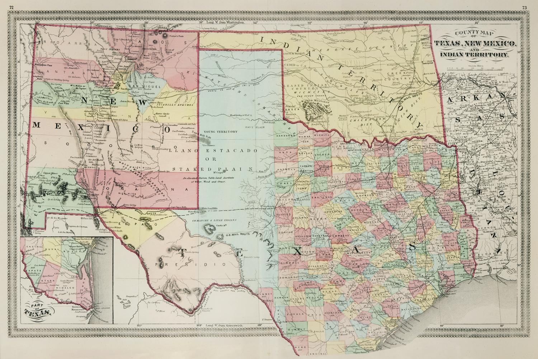 The Antiquarium - Antique Print & Map Gallery - Lloyd - Texas, New - Texas New Mexico Map