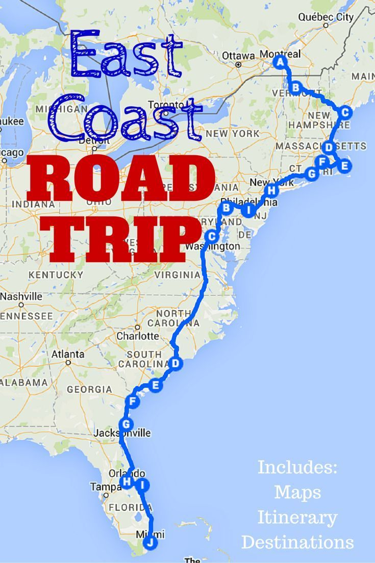 The Best Ever East Coast Road Trip Itinerary | Usa Travel Tips - California To Florida Road Trip Map