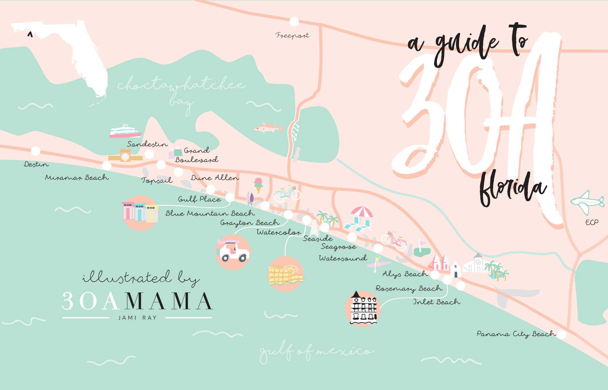 The Essential Guide To 30A - From A Local Mom - 30A Mama™ | Jami - Alys Beach Florida Map