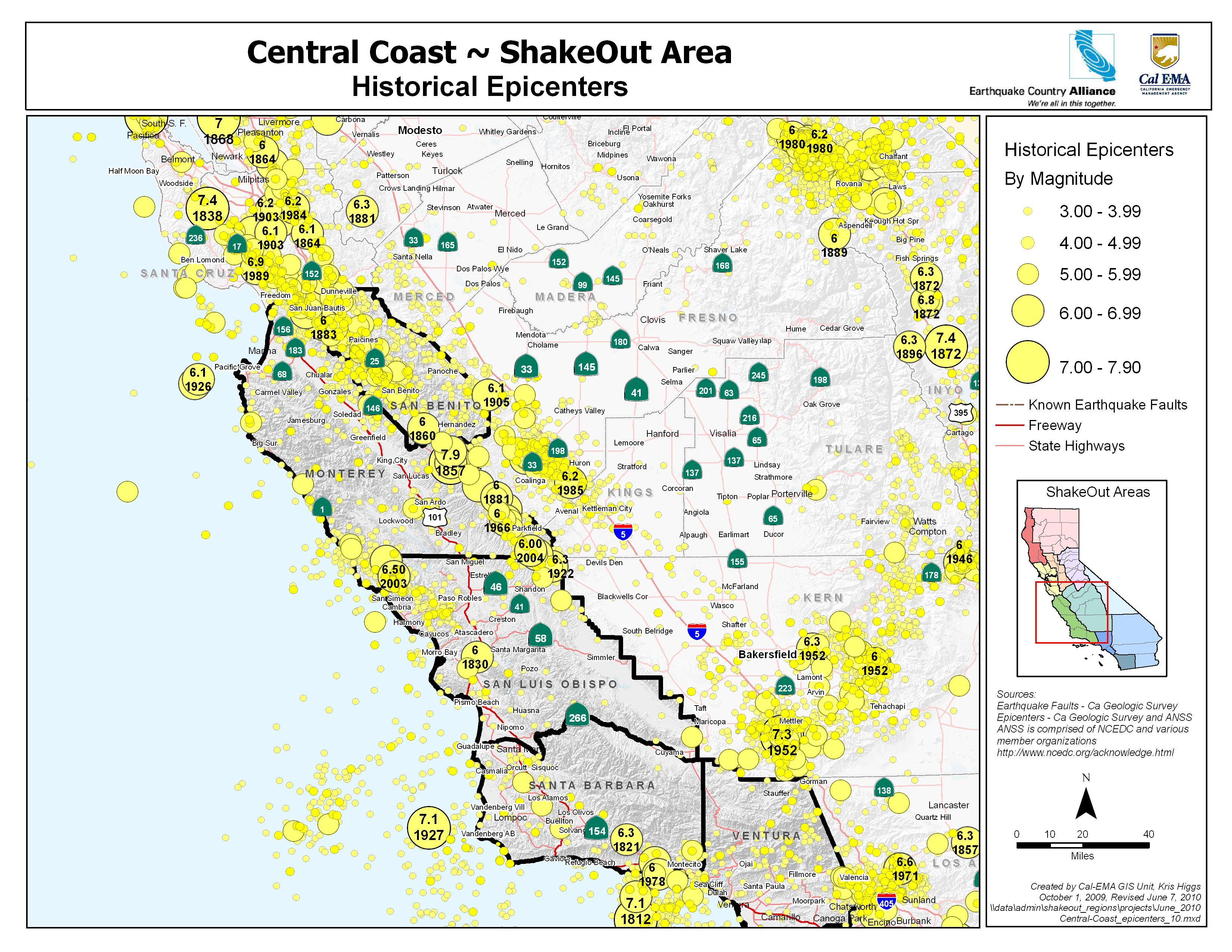The Great California Shakeout - Central Coast Area - Usgs California Nevada Earthquake Map