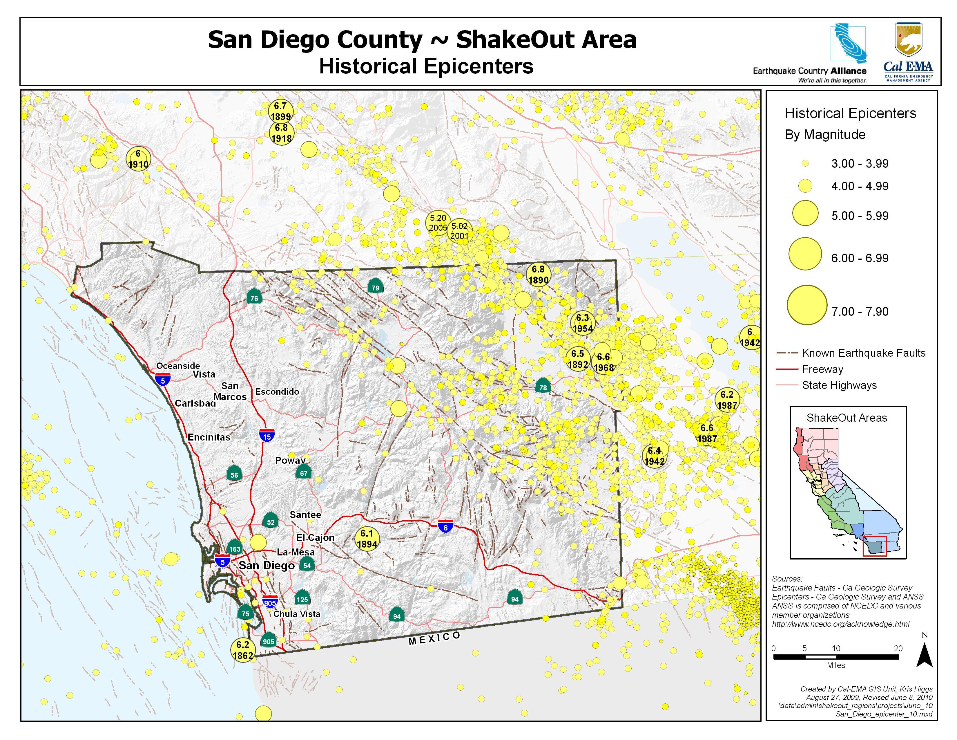 The Great California Shakeout - San Diego County Earthquake Hazards - Earthquake California Index Map