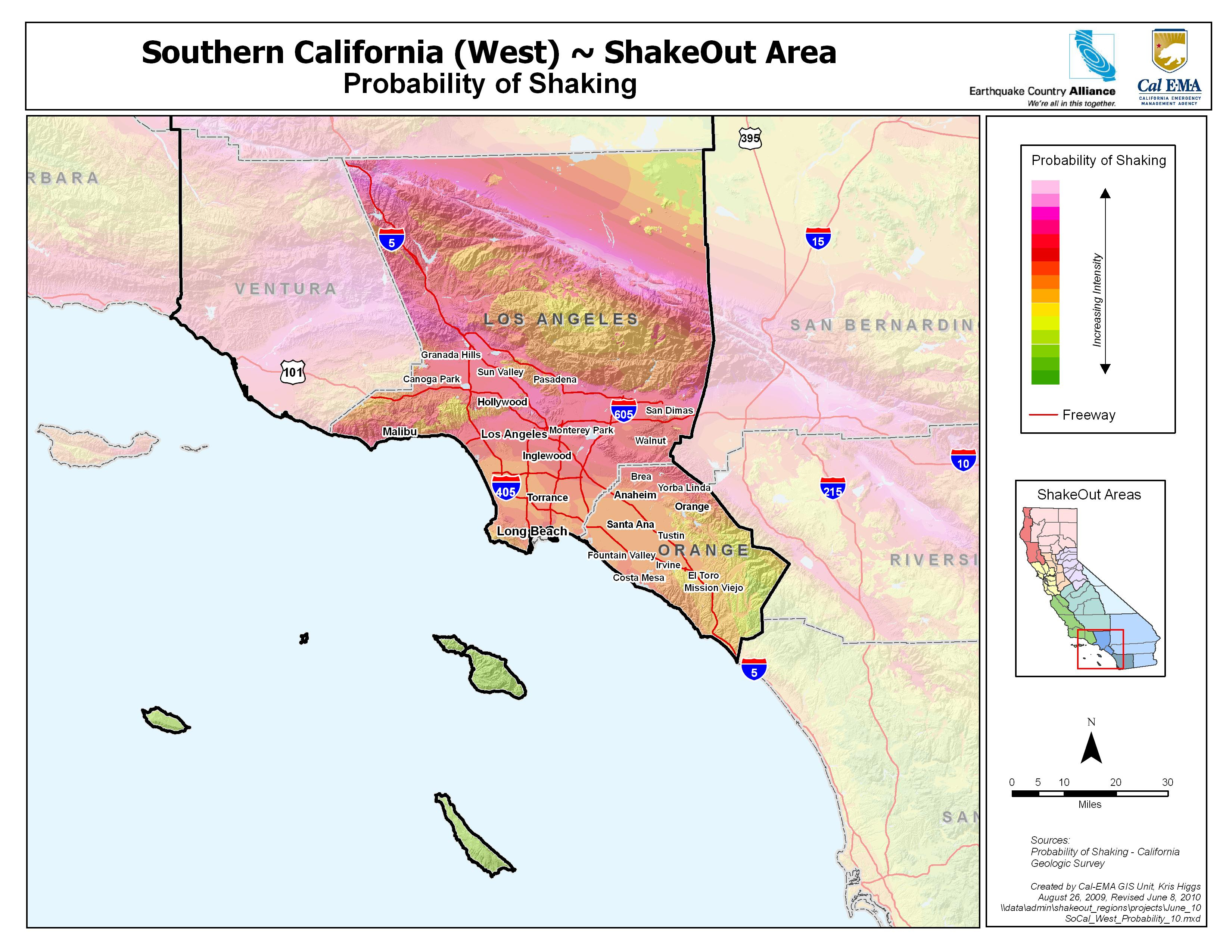 The Great California Shakeout - Southern California Coast Area - Southern California Earthquake Map