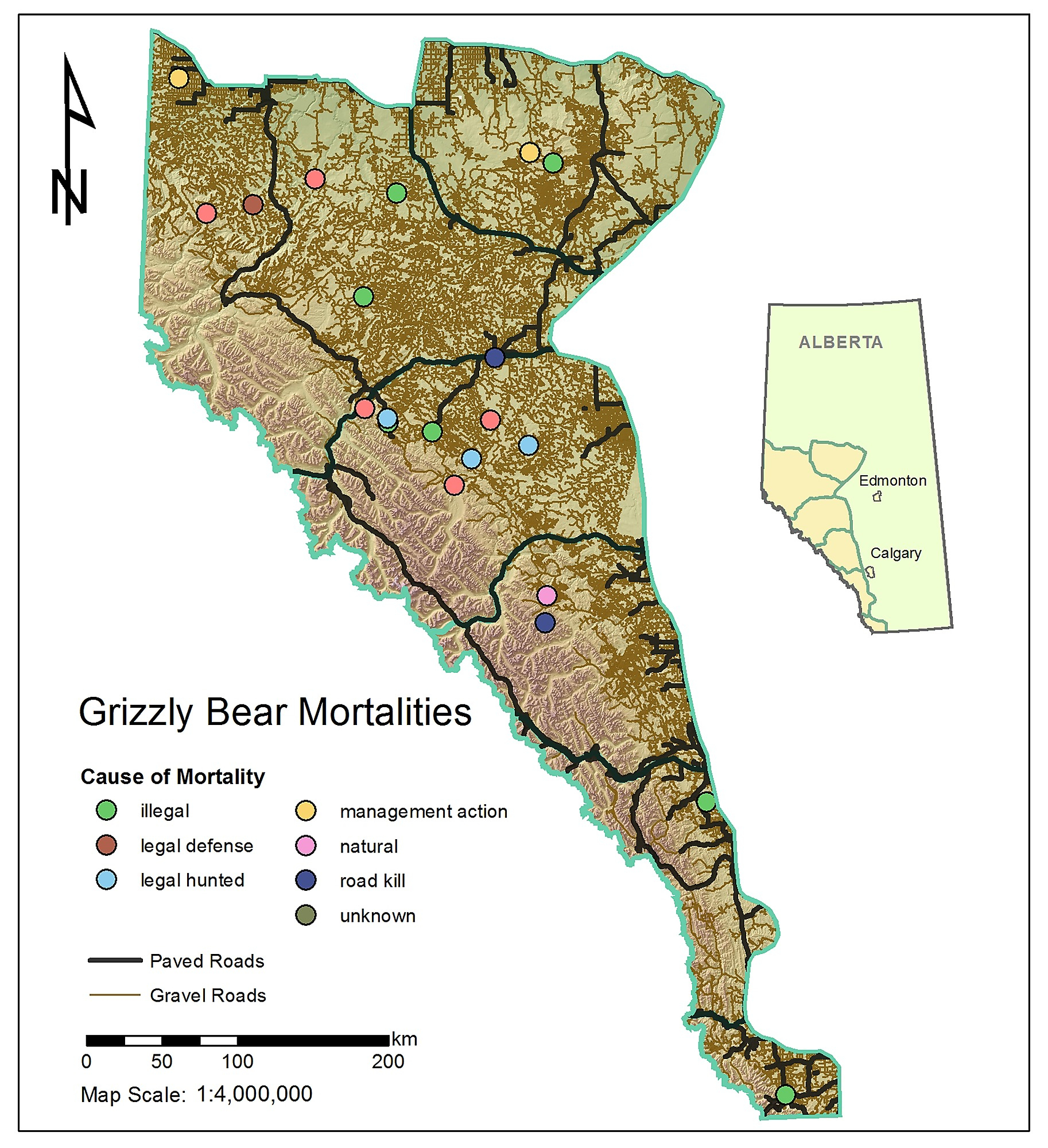 The Impact Of Roads On The Demography Of Grizzly Bears In Alberta - Bears In California Map