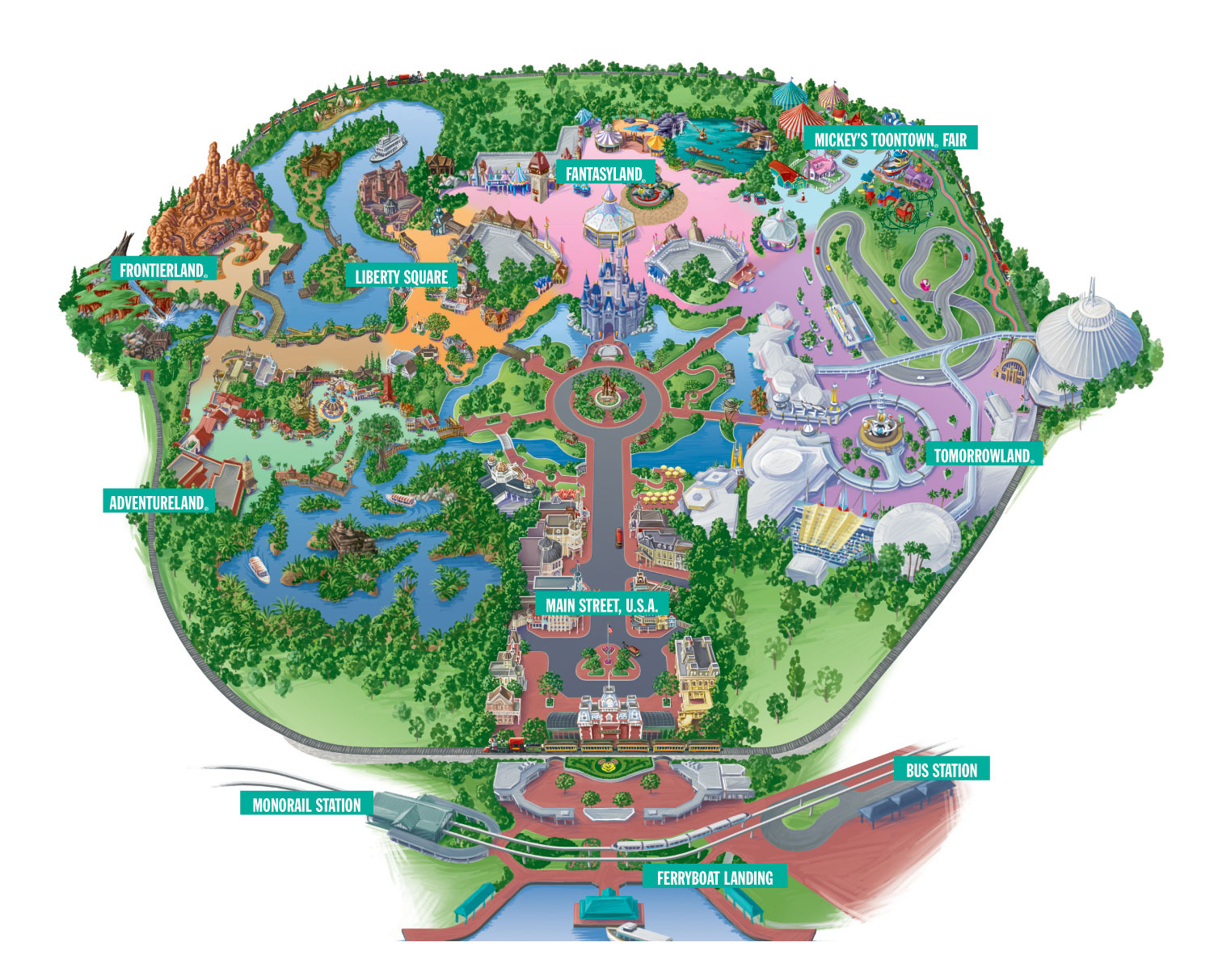 The Magic Kingdom Park | - Magic Kingdom Orlando Florida Map