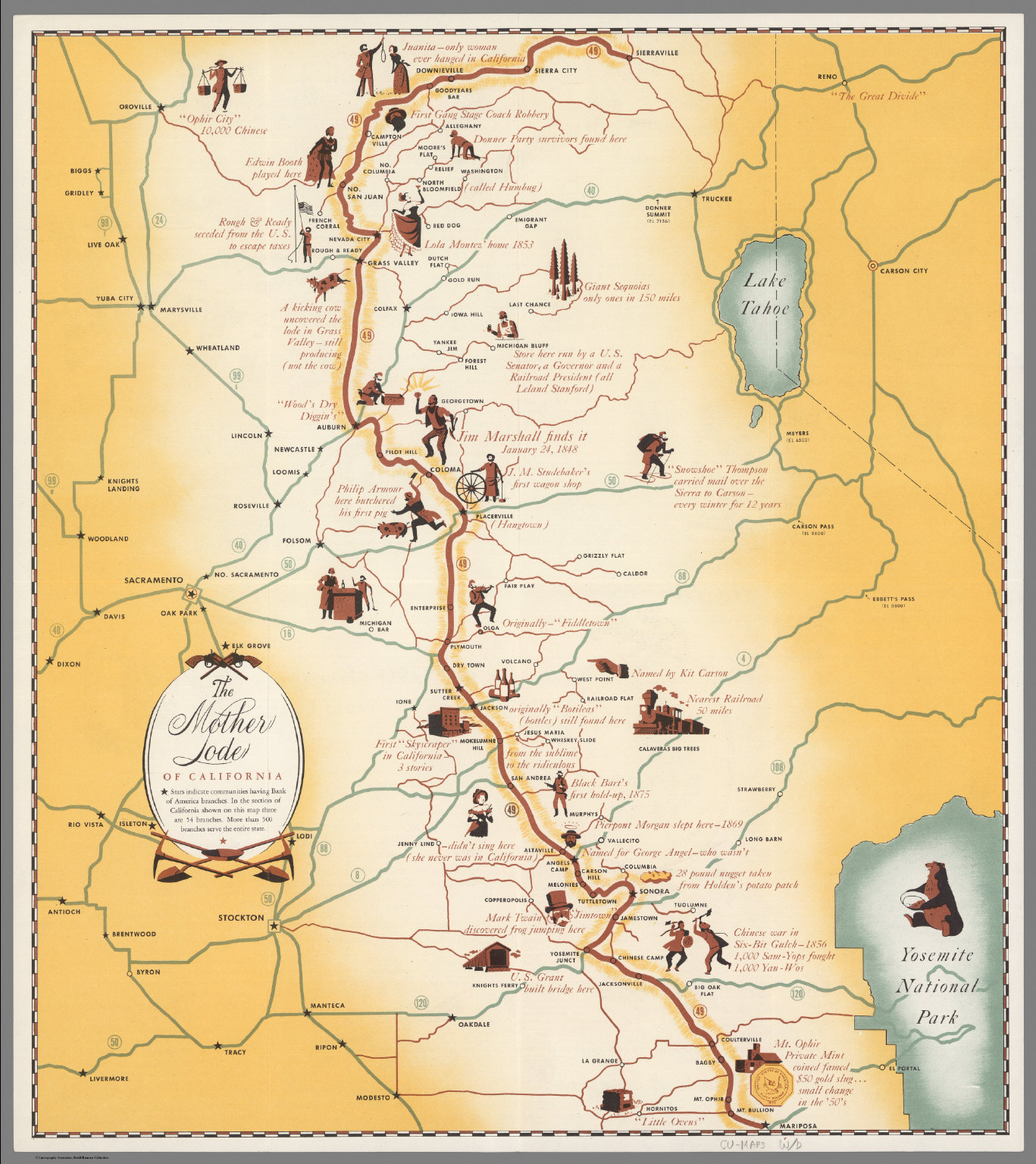 The Mother Lode Of California. - David Rumsey Historical Map Collection - California Mother Lode Map