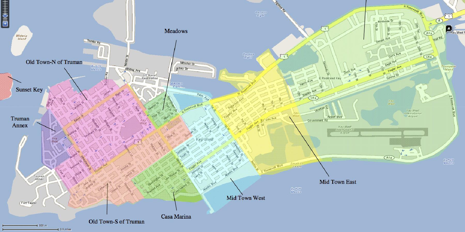The Neighborhoods Of Key West | Historic Key West Vacation Rentals - Street Map Of Key West Florida