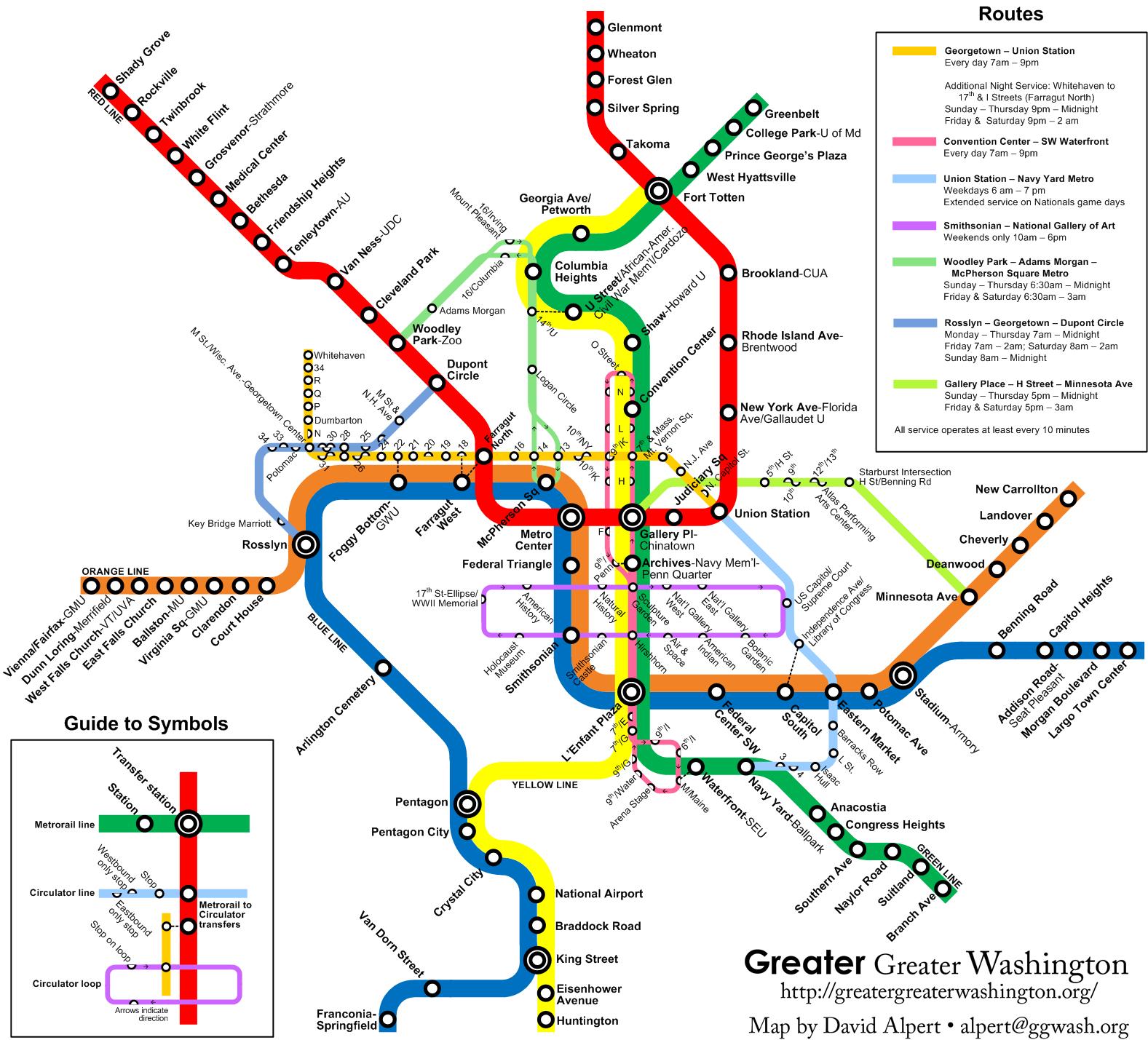 The New Circulators And The Metro Map – Greater Greater Washington - Washington Dc Subway Map Printable