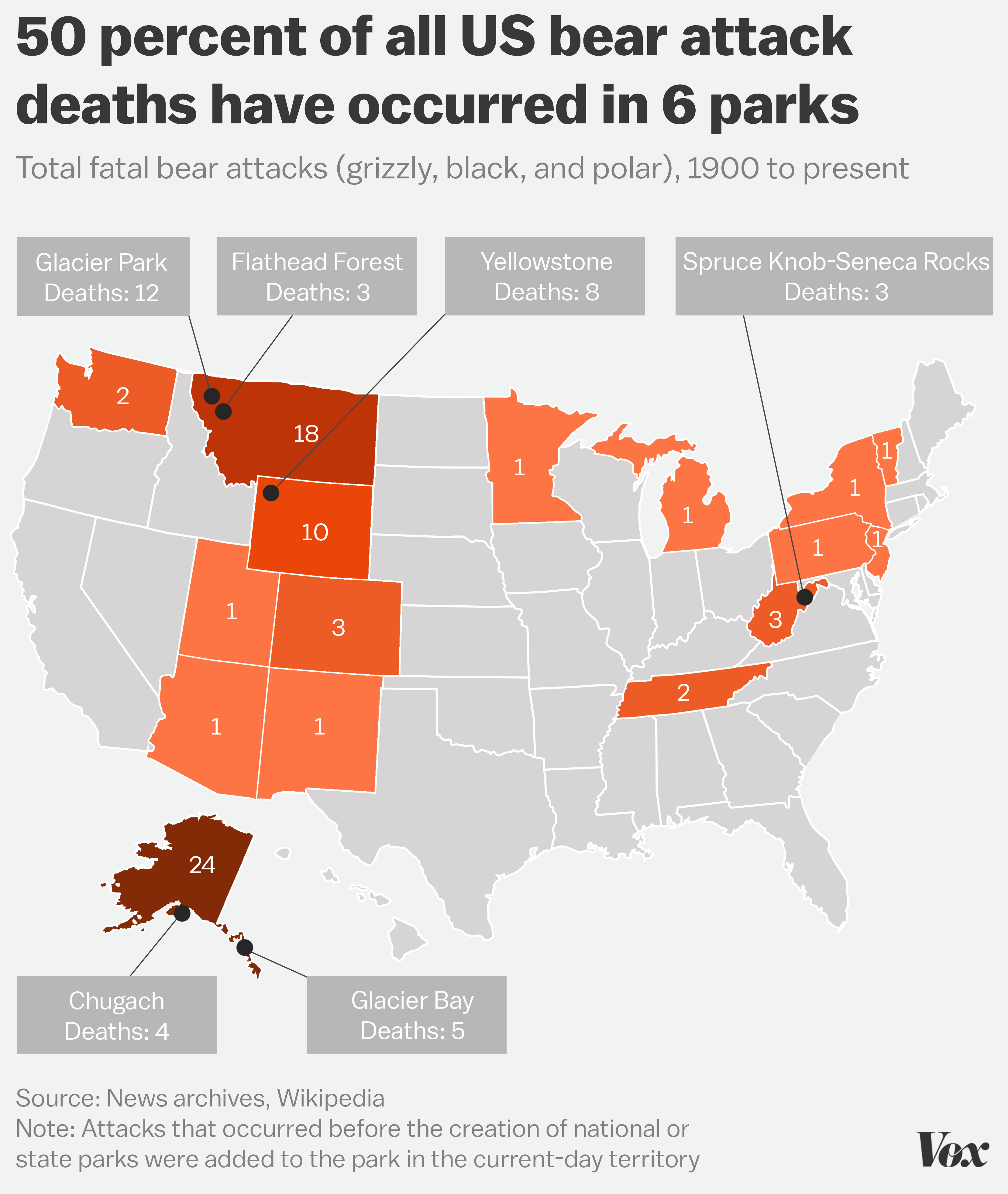 The Parks Where You're Most Likely To Be Killeda Bear - Vox - Bears In Florida Map