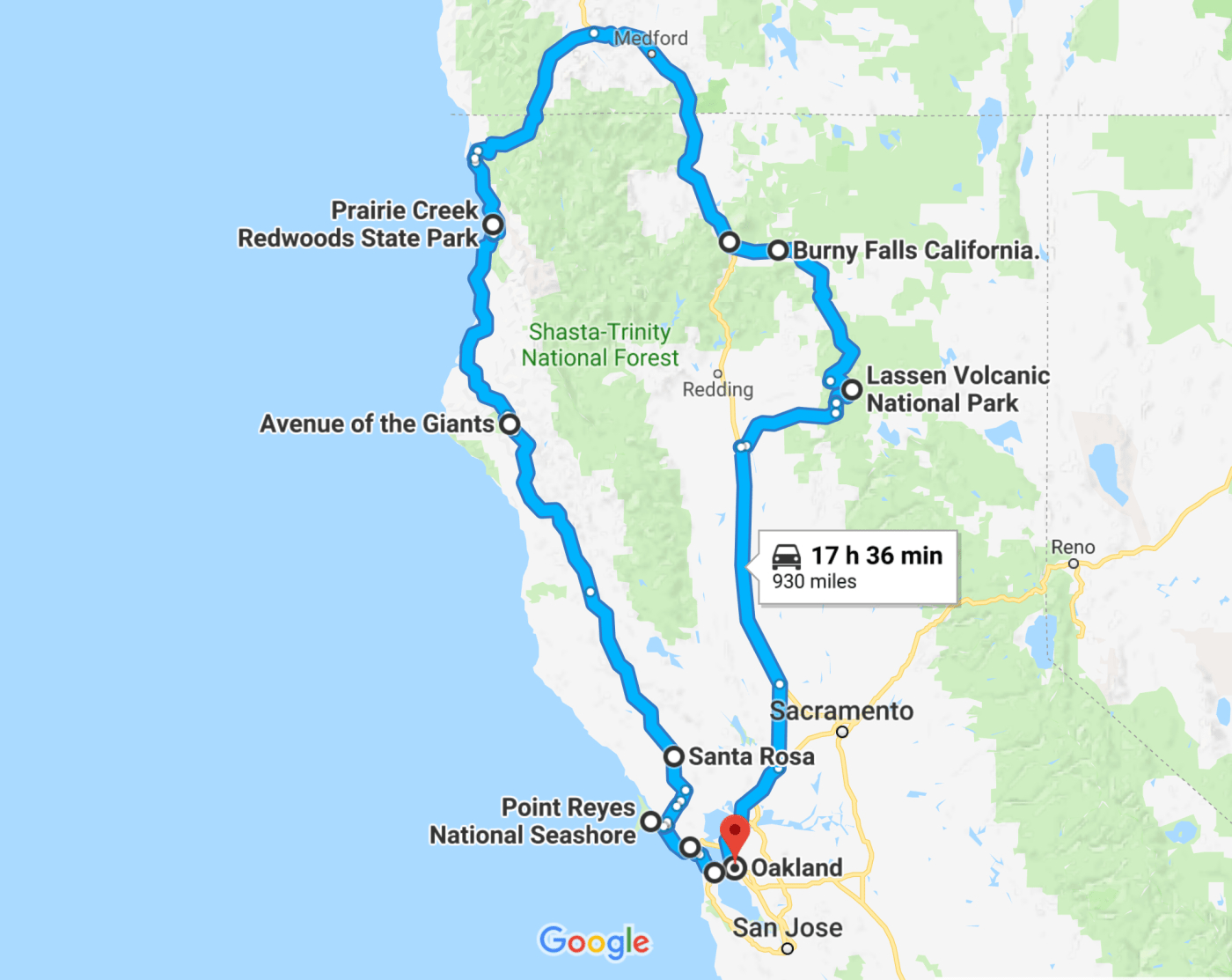 The Perfect Northern California Road Trip Itinerary   Travel - California Road Trip Map