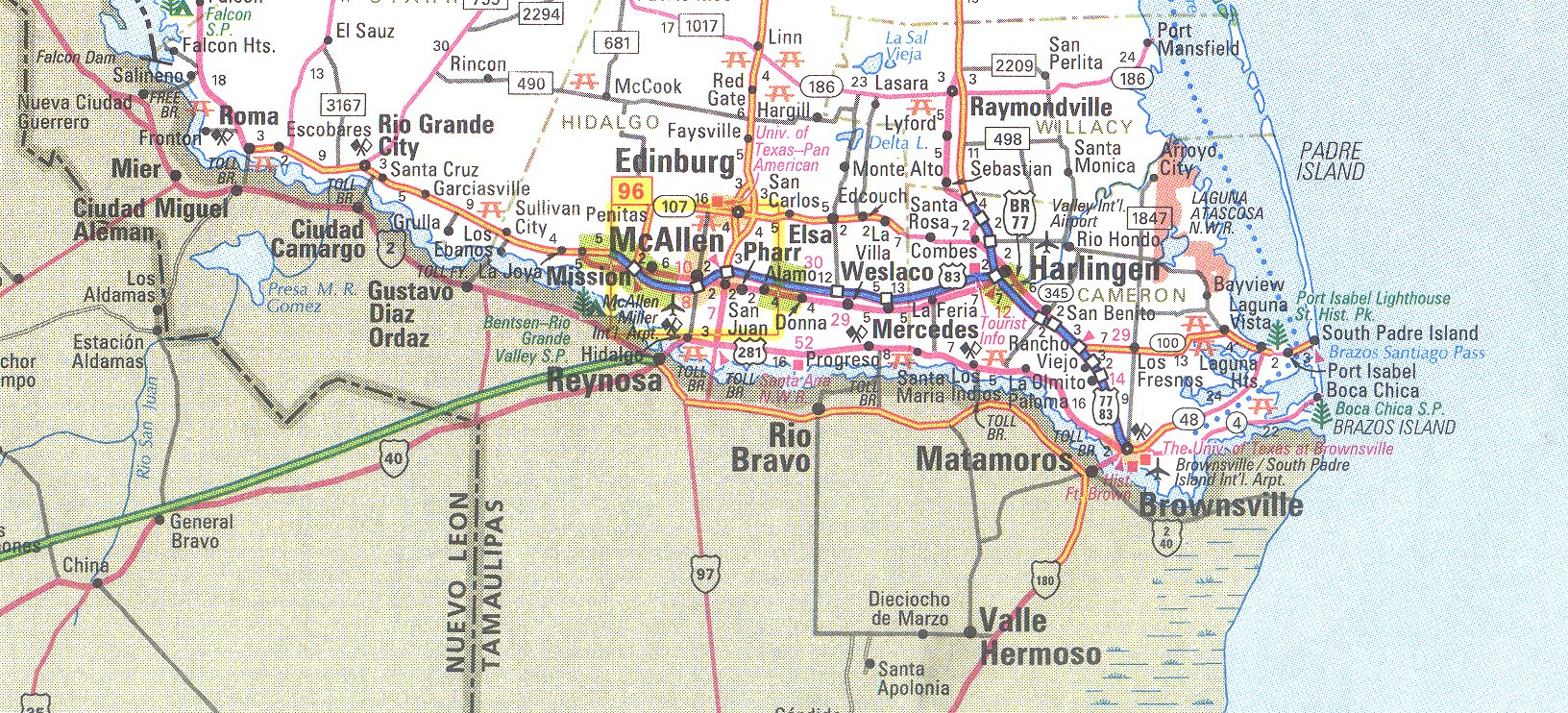 The Rio Grande Valley Texas Map - South Texas Cities Map