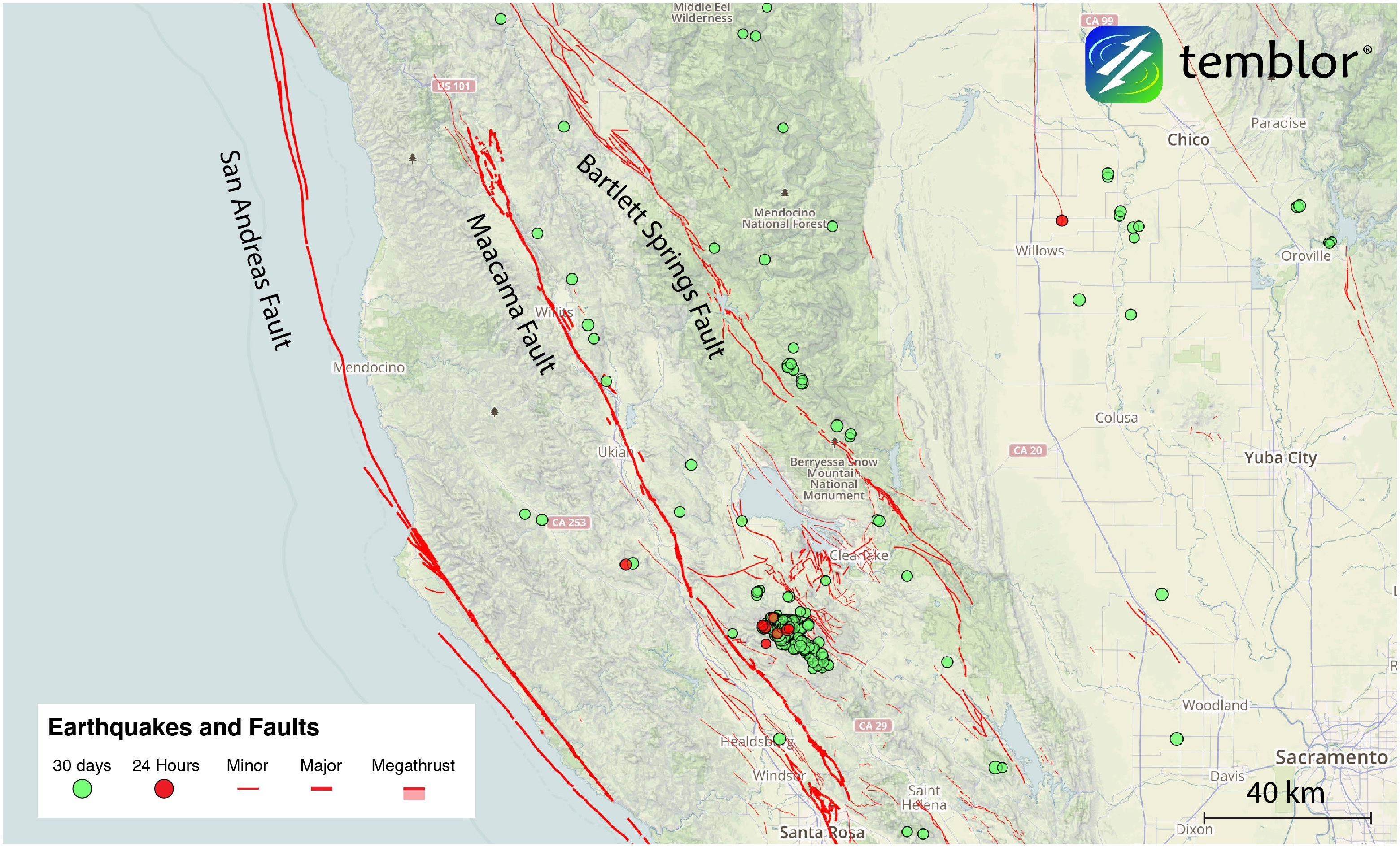 The San Andreas' Sister Faults In Northern California | Temblor - Map Of Northern California