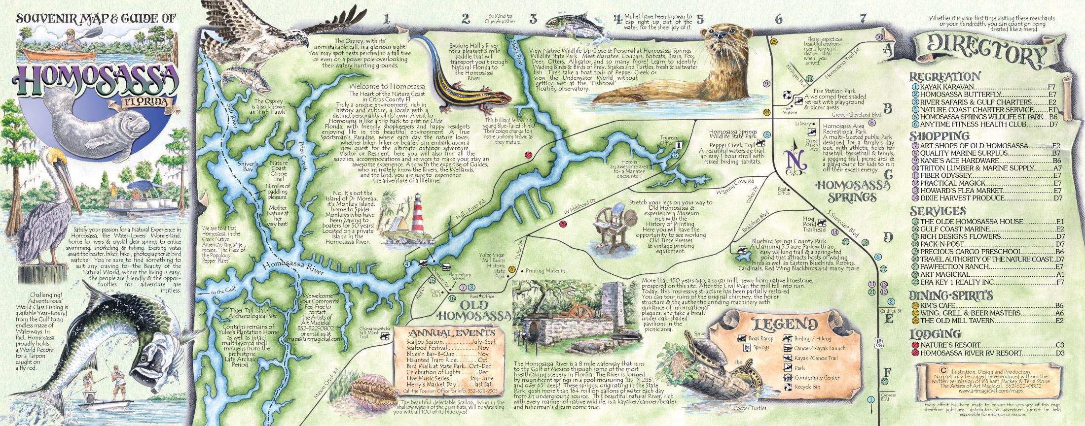 The Souvenir Map & Guide Of Homosassa Springs Fl - Florida Springs Map